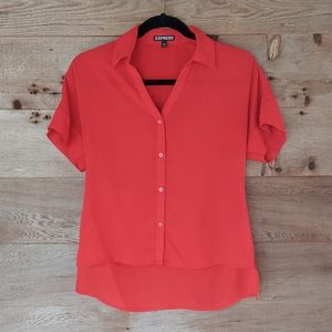 Express Red Short Sleeve Button Down Hi Low Xsmall